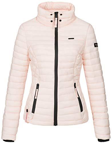 Marikoo Damen Jacke Steppjacke Übergangsjacke mit Kapuze gesteppt B600 [B600-Samt-Rosa-Gr.S] - 3