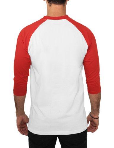 Urban Classics Herren Langarmshirt Bekleidung T-Shirt Wht/Red
