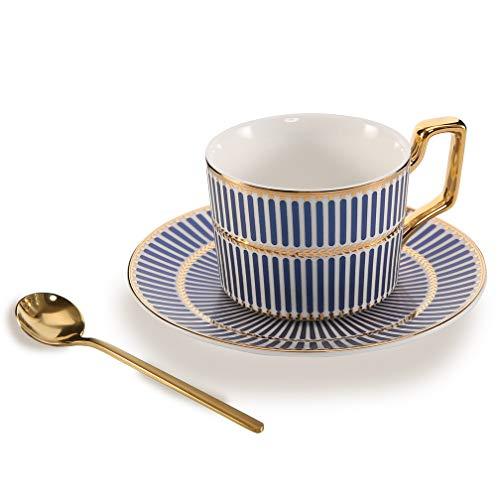 ALODZ Bone China Keramik Teetasse Kaffeetasse mit Untertasse und Löffel, Blau Medium blau (Blau China Tasse Und Untertasse)