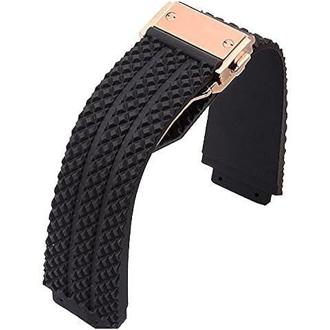 Nuevo 25mm oem estilo negro goma correa de reloj rosa oro cierre para Hublot Big Bang