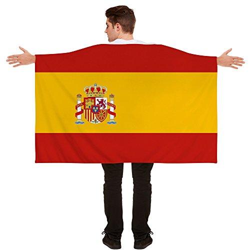 Kostüm Flagge - ILOVEFANCYDRESS Flaggen Umhang ANZIEHBARE National Fahnen Party Sport Tennis Fussball Supporter Fan = ABMESSUNGEN Sind UNGEFÄHR = 152cm x 91cm = Spanien