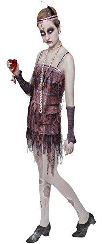 Fancy Ole - Damen Frauen Lady Gravestone 20er Jahre Halloween Karneval Kostüm , Rosa, Größe (Up Lady Make Devil Kostüm)