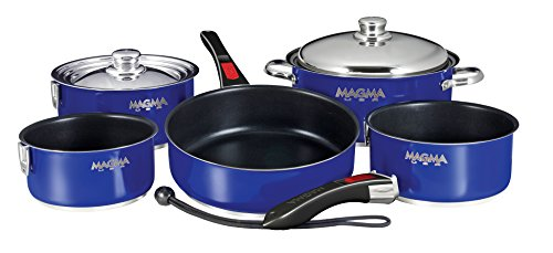 Magma Products Gourmet Nesting Stainless Steel Cookware Set with Non-Stick Ceramica (10 Piece), Cobalt Blue