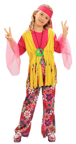 Childrens Hippy Girl Fancy Dress Costume 60'S 70'S Flower Power Outfit 7-10 Yrs. Ideal for the school play, history dress-up, World Book Day etc. A fun costume which includes everything pictured except the peace necklace and shoes.