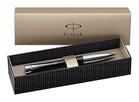 Parker Urban Chrome Trim Ballpoint Pen with Medium Nib - Black, Gift Boxed