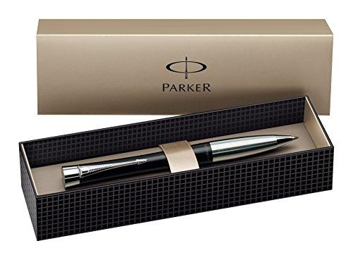parker-s0767030-urban-kugelschreiber-mattschwarzer-lack-mit-chromverzierungen-blaue-tinte