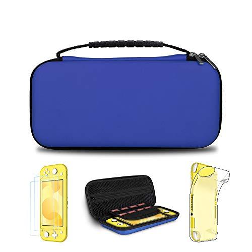 Simpeak 5 en 1 Kits Compatible con Nintendo Switch Lite, Protector Pantalla Compatible con Nintendo Switch Lite, Funda Transparente TPU, Accesorio de Limpieza