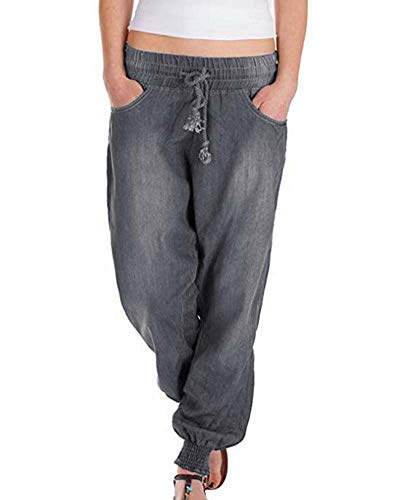 Sieben Für Alle Menschheit Größen (Hellomiko Damen Lace-up Lose Lässige Jeans Hose Hosen)