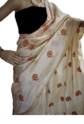 SilverStar Women's Chanderi Cotton Off-White Color Tree Embroider Designer Saree With Grey...