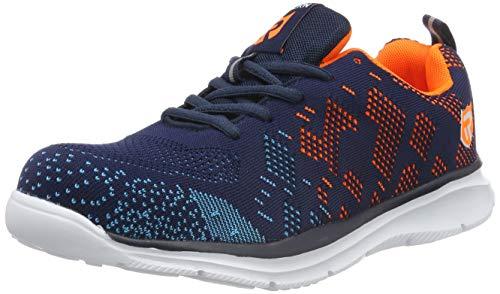 LARNMERN Stahlkappe Sicherheitsschuhe, Herren luftdurchlässige Leichte Anti-Smashing Punktion Proof Schuhe Industrie und Handwerk (47 EU, Blau Orange)