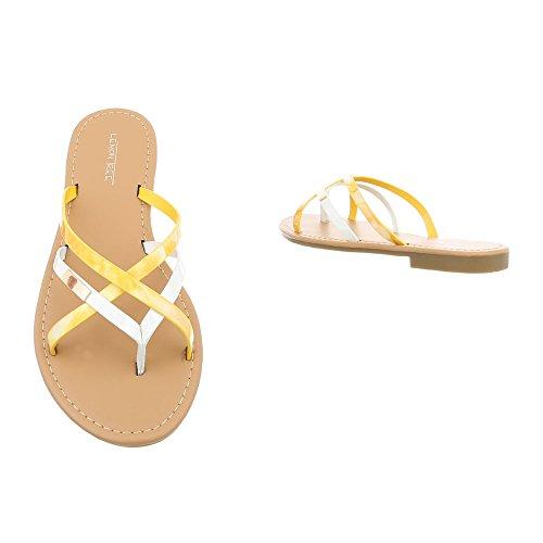 12 Infradito Giallo Bianco Donna Fitflop Da Ital Scarpe Pm907 Havaianas design Sandali Blocco qwzp4P