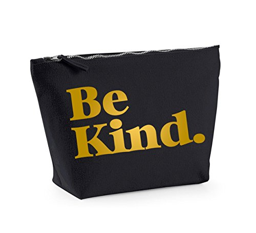 Be Kind - Fun Slogan, Make Up and Cosmetics Bag, Accessory Organiser Black/Gold