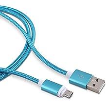 kwmobile Nylon Cable Micro USB universal- adecuado para Samsung Galaxy S6 / S6 Edge / S5 / S4, Sony Xperia Z2 / Z3 / Z4, LG G2 / G3 / G4 - 2 m azul