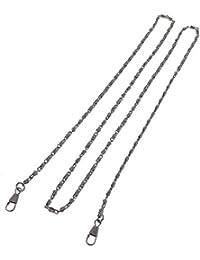 Metálico Hebilla Clip Bolso Cadena 120cm Largo Gris Oscuro