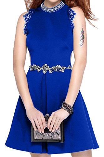Ivydressing Damen Sweetheart Rundkragen Steine Guertel Satin Partykleid Promkleid Festkleid Abendkleid Royalblau