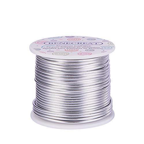 BENECREAT 30m Filo di Alluminio Anodizzato Che Fa Bordare Fili di Alluminio per Mestiere Design Gioiello(3mm - Argento)