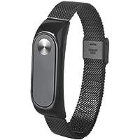 Para Xiaomi Mi Band 2 - Sannysis correas magnéticas de acero inoxidable de Milanese (02, negro)