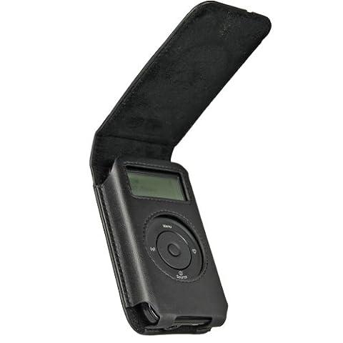 iGadgitz Schwarz Original Ledertasche case Echt leder tasche für Pure Move 2500 Wiederaufladbare Personal Digital DAB/FM Radio