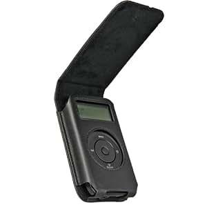 igadgitz Nero Originali vera pelle Leather Case Cover per Pure Move 2500 rechargeable ricaricabile Personal Digital DAB / FM Radio