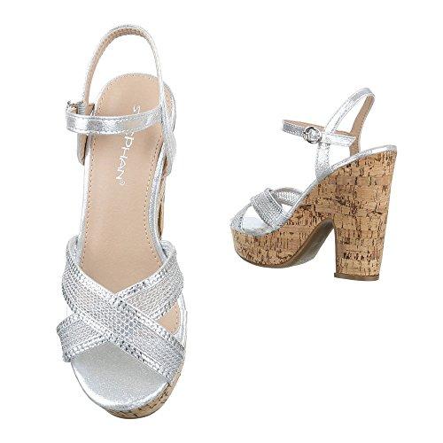 High Heel Sandaletten Damen Schuhe Plateau Pump Plateau Schnalle Ital-Design Sandalen / Sandaletten Silber