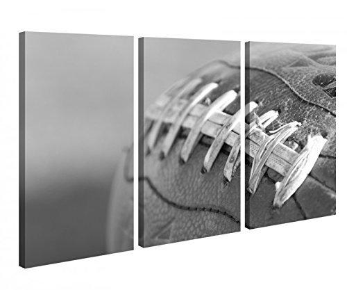 Foto en lienzo 3 Piezas Fútbol Rugby Bola Huevo American Negro Blanco Imagen Imágenes lienzo madera Enmarcado 9u362 - 120x80cm (3Stk 40x 80cm)