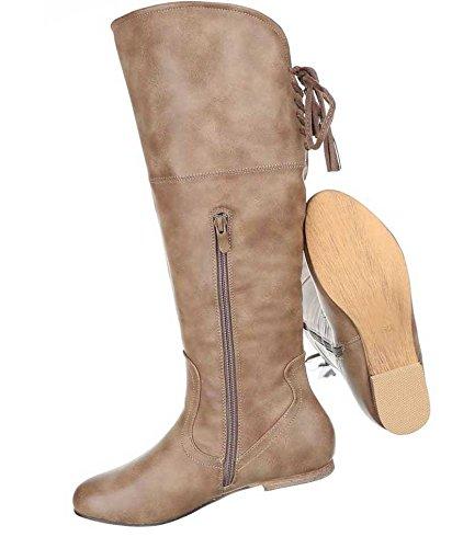 Damen Stiefel Schuhe Used Optik Schwarz Hellbraun