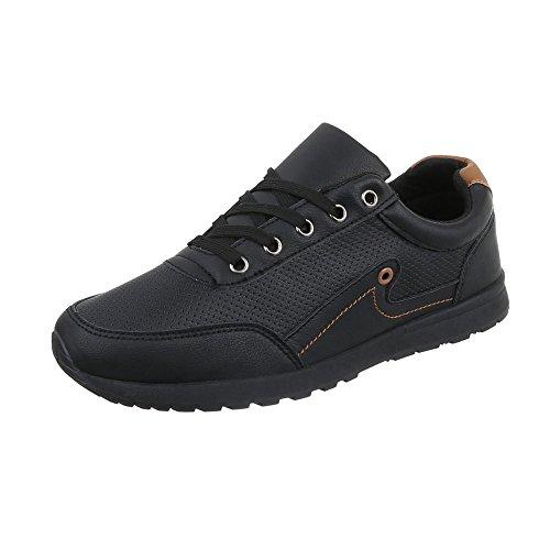 Ital-Design Turnschuhe Damen-Schuhe Low-Top Schnürer Schnürsenkel Sneaker Schwarz, Gr 42, C9065-1-