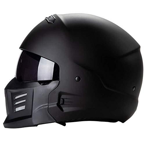 LALEO Personalidad Cascos Moto Half-Helmet Gafas Integradas