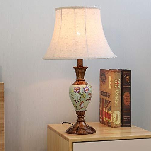 TOMSSL Weißes Kunststoffmaterial Hoher Hellrosa Schatten Tuch Hand Blumenmuster Nachttischlampen Beleuchtung Der Lampen-Beleuchtungslampen