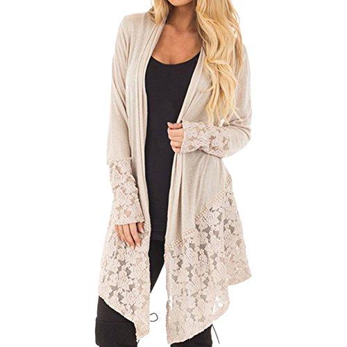 WWricotta Women Fashion Lace Patchwork Long Sleeve Casual Pure Color Cardigan Coat KH/L(Khaki,L) Lace Long Sleeve Coat