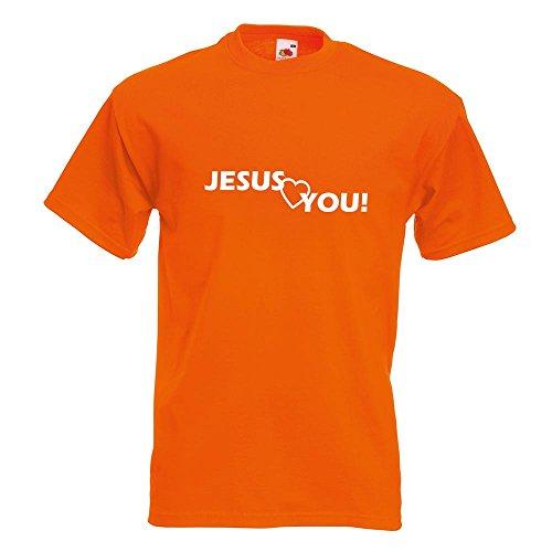 KIWISTAR - Jesus love you Christentum T-Shirt in 15 verschiedenen Farben - Herren Funshirt bedruckt Design Sprüche Spruch Motive Oberteil Baumwolle Print Größe S M L XL XXL Orange