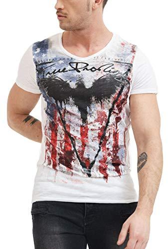 trueprodigy Casual Herren Marken T-Shirt mit Aufdruck, Oberteil cool und stylisch mit V-Ausschnitt (Kurzarm & Slim Fit), Shirt für Männer Bedruckt Farbe: Weiß 1072124-2000-L