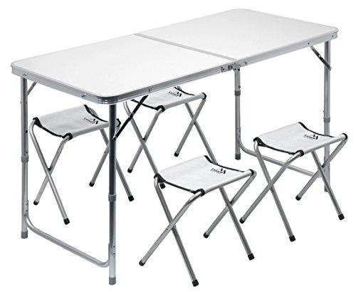 Cattara 13488 Camping Tisch klappbar DOUBLE grau + 4xStuhl (Double-camping-stuhl)