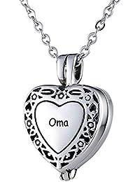 1cefe05e430f Amody Acero Inoxidable Corazón Collar de urnas para el Recuerdo de Las  Cenizas conmemorativo cremación Colgante