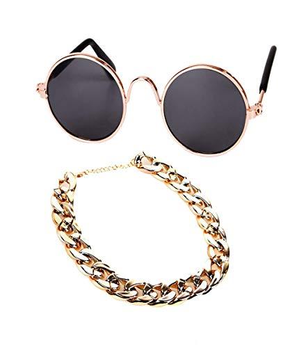 Vaycally Haustier Hund Katze Schutz Klassische Retro Sonnenbrille Zubehör Sonnenbrille Halskette Set Dekoration Zubehör Vintage Mens Womens Fashion Shades