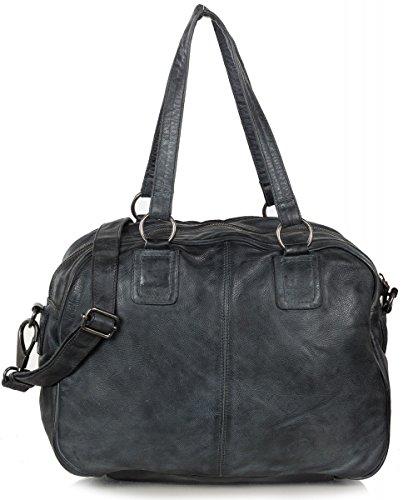 FREDsBRUDER Funday Shopper Sac à bandoulière en cuir vintage (35 x 28 x 13 cm) Dark Grey (Gris)