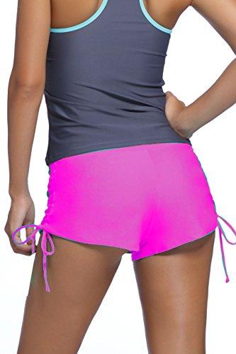 Damen Badehose Badeshorts Panty Shorts Kurze Hose Unterteil Kurz Uni Pink