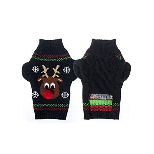 Healifty Weihnachten Hund Pullover Kostüme Kleidung für Haustier mit Rentier Muster M (schwarz)