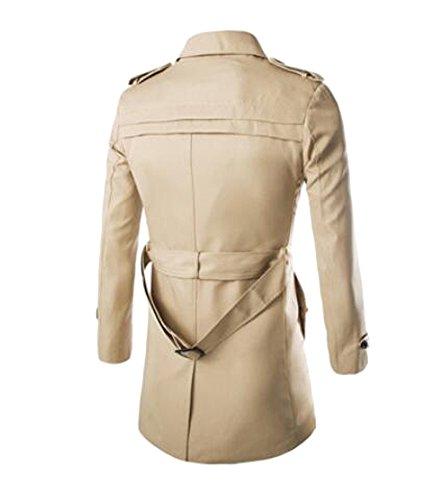 Herren Übergangsjacke Langarm Trenchcoat Mantel Kurzmantel Einreihig Jacke, Khaki, EU XS/Asia M - 2