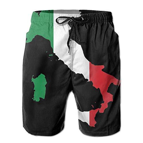 lears Italienische Flagge Karte Männer/Jungen Lässig Schnell Trocknend Badeanzüge Elastische Taille Strandhose Mit Taschen, M