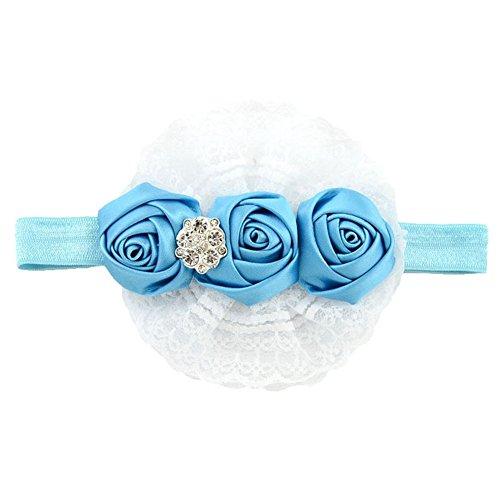 Sanwood Kids Baby Girl Flower Princess Lace Ribbon Elastic Headbands