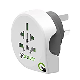 World to Australia Travel Adapter by Q2Power | For Type I Outlets | Grounded & Safe | Works with Laptops, Computers, Smartphone Chargers, Portable Devices | Perfect for International Trips