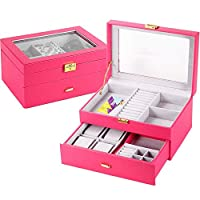 DRHYSFSA-Home Jewellery Box Organiser 2 Layer Leather Storage Display Case Jewellery Watch Box Watches Jewellery Organizer With Lock And Top Glass for Girl (Color : Rose red, Size : 29 * 20.5 * 15cm)