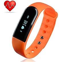 Minhe Pulsera de Fitness con Monitor de Pulso, IP67 Impermeable Bluetooth 4.0 Pulsera Inteligente Deporte Actividad Rastreador de monitor de pulso cardiaco Podómetro Monitor de sueño Control de Cámara y Música Notificaciones llamadas SMS Whatsapp Facebook Para Android e IOS Naranja