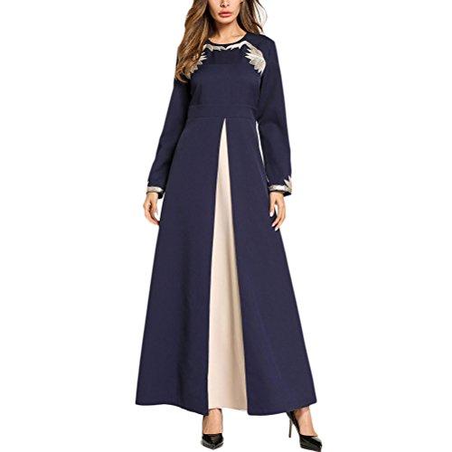 Zhuhaitf Elegante Mode Blau Lange Kleider Kaftan Dubai Abaya Malaysische Marokkanische Saudi-Arabien für Frauen - Marokkanische Brust
