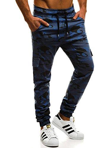 ozonee Uomo JOGGER Chino Jogging Pantaloni CASCANTE PANTALONI SPORT JOGGING FITNESS ATHLETIC 472 BLU SCURO _ath-404