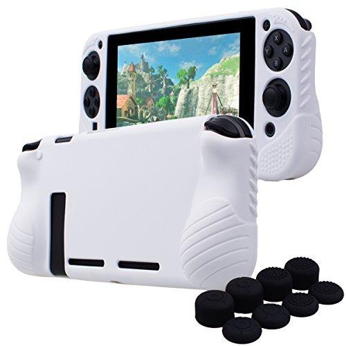 YoRHa HANDGRIFF Studded Kein Geruch Silikon Hülle Abdeckungs Haut Kasten für Nintendo Switch x 1 ( Weiß) Mit Joy-Con aufsätze thumb grips x 8