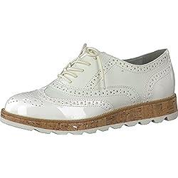 s.Oliver Damenschuhe 5-5-23616-28 Modischer Damen Freizeitschuh, Sneaker, Schnürhalbschuh in Brogue Optik weiß (WHITE COMB.), EU 38