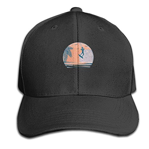 Surfer and Sunset Pure Color Peaked Hat Adjustable Trucker Hat Fits Men Women Black