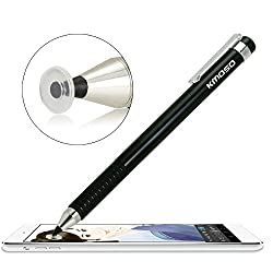 Kmoso ®Precise Fine Point Stylus Pen - Extremely Finest Tips With Clear Disc Stylus Capacitive Stylus For Touch Screen Devices( With 3 Free Replacement Discs)(black)